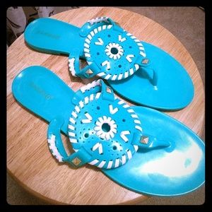 Teal vinyl/ jelly slip on sandals size 10/11